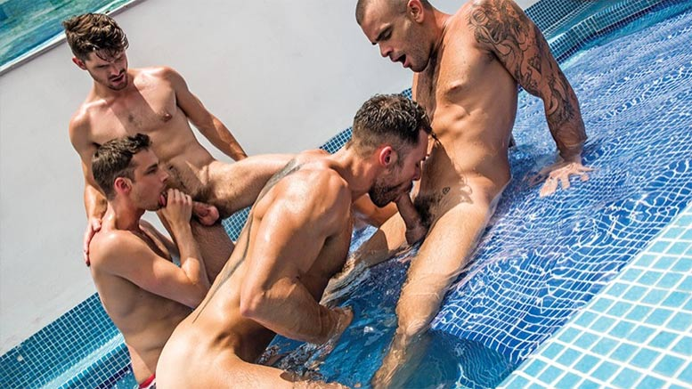 LucasEntertainment: Damien Crosse, Damon Heart, Devin Franco, Drae Axtell & James Castle Star in a 5-Man Orgy in 'Greedy Holes, Scene 1'
