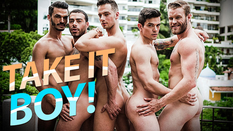 Aaden Stark, Carlos Lindo, Dakota Payne, Damon Heart and Shawn Reeve (5-Man Orgy) in 'Take It Boy!' Scene 1 at Lucas Entertainment