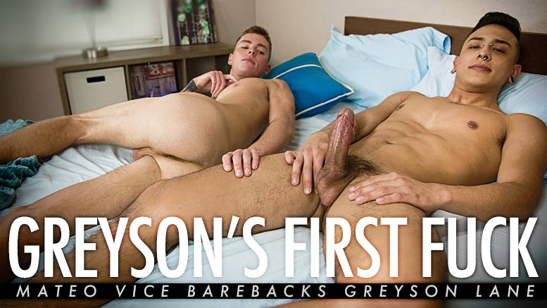 Guys In Sweatpants: Greyson's First Fuck (Mateo Vice Barebacks Greyson Lane)