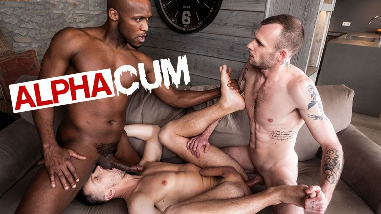 Lucas Entertainment: Guillaume Wayne & Andre Donovan Spit Roast Andrey Vic in 'Alpha Cum, Scene 1'