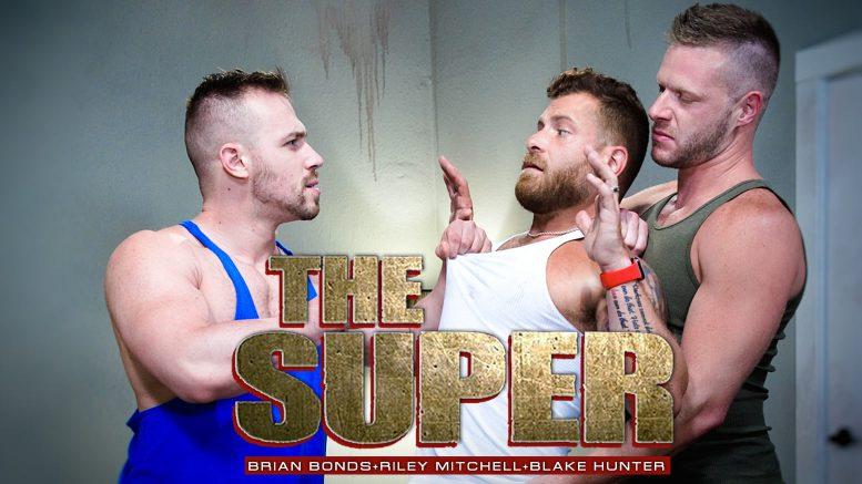 Raging Stallion: Brian Bonds, Riley Mitchell and Blake Hunter in 'The Super, Scene 6'
