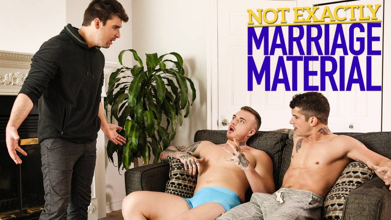 MEN: Theo Ross and Pierre Fitch Tag-Team Dustin Holloway in 'Not Exactly Marriage Material'