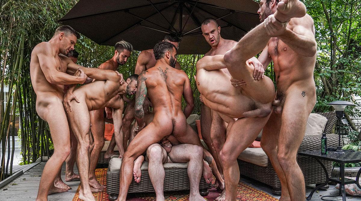 11-Man Fire Island Bareback Orgy (Part 2)